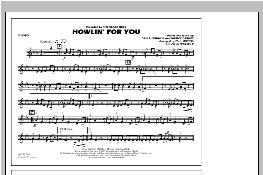 Howlin' For You - F Horn Sheet Music