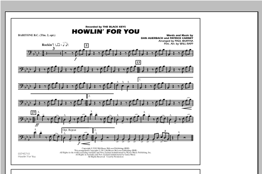 Howlin' For You - Baritone B.C. (Opt. Tbn. 2) Sheet Music