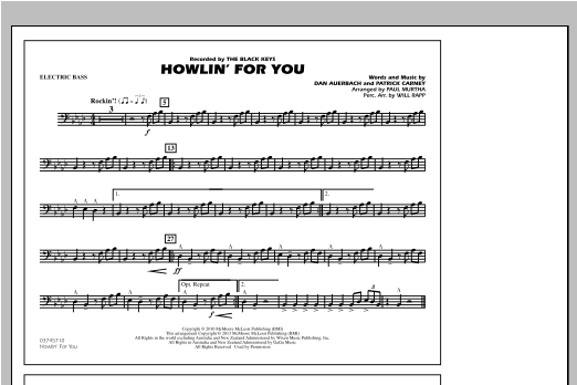Howlin' For You - Electric Bass Sheet Music