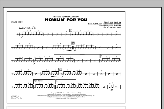 Howlin' For You - Snare Drum Sheet Music