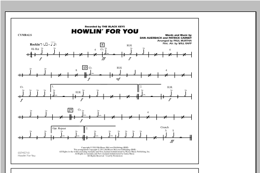 Howlin' For You - Cymbals Sheet Music