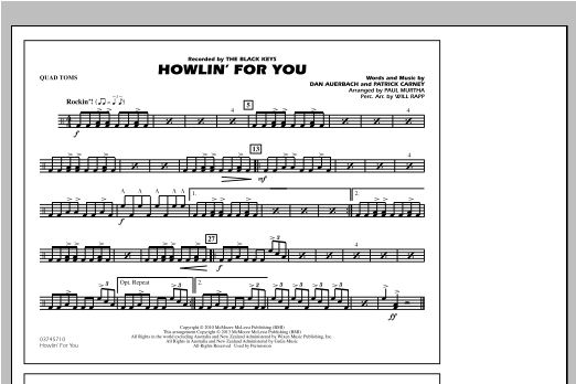 Howlin' For You - Quad Toms Sheet Music