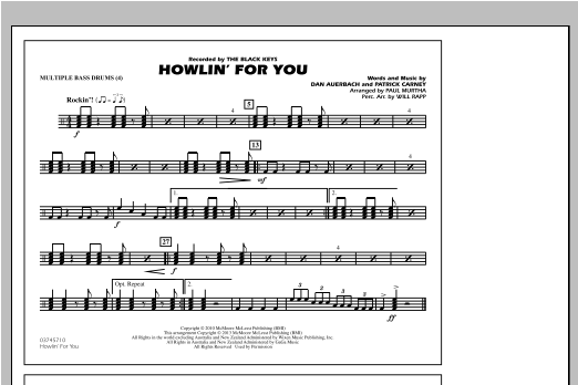 Howlin' For You - Multiple Bass Drums Sheet Music