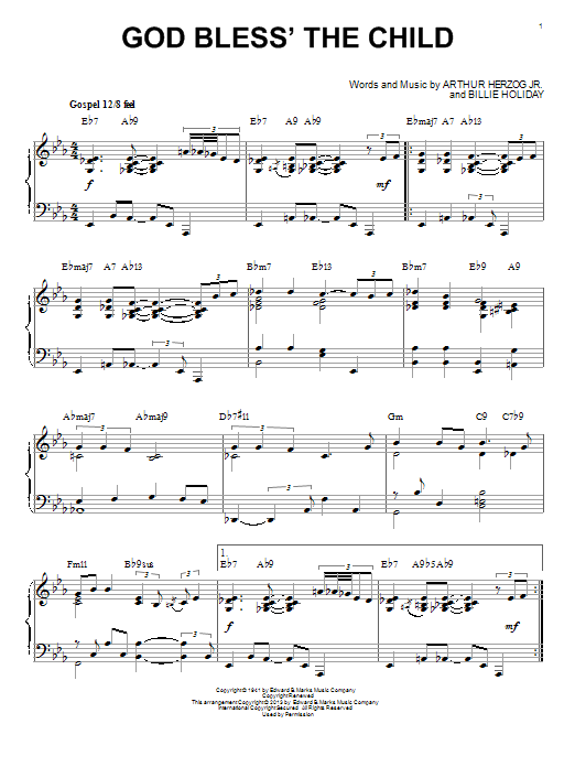 God Bless' The Child Sheet Music