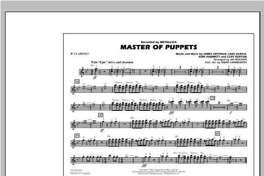 Master of Puppets - Bb Clarinet Sheet Music