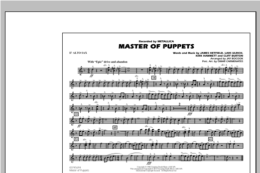 Master of Puppets - Eb Alto Sax Sheet Music