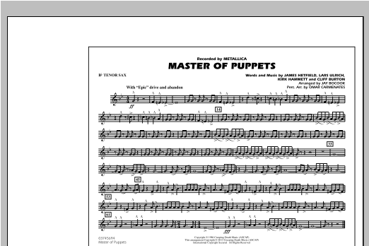 Master of Puppets - Bb Tenor Sax Sheet Music