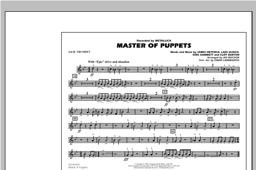 Master of Puppets - 3rd Bb Trumpet Sheet Music