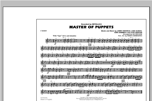 Master of Puppets - F Horn (Marching Band)
