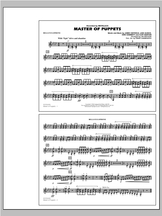 Master of Puppets - Bells/Xylophone Sheet Music