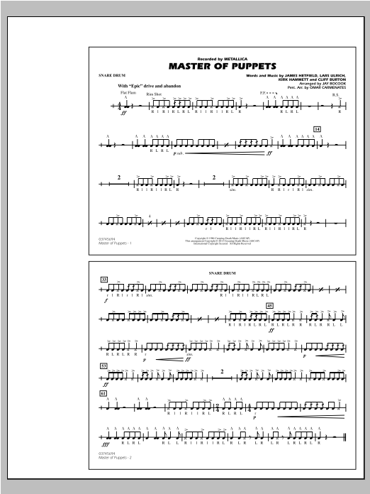 Master of Puppets - Snare Drum Sheet Music