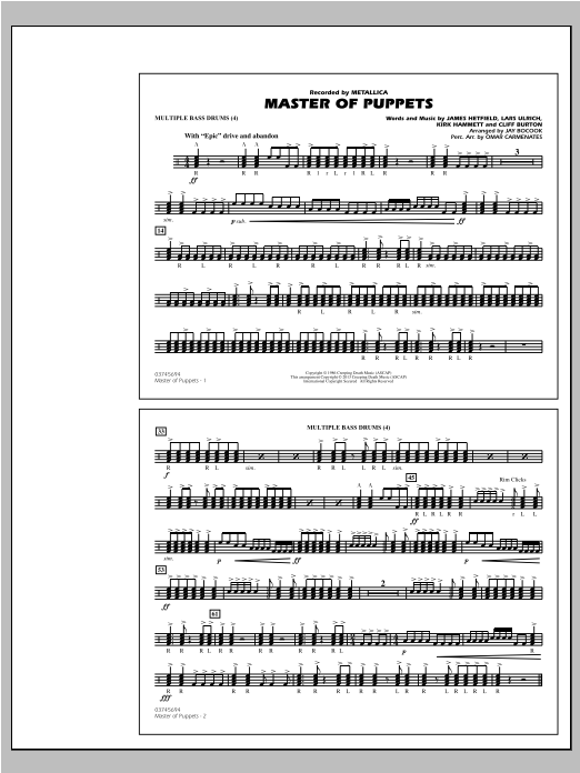 Master of Puppets - Multiple Bass Drums Sheet Music