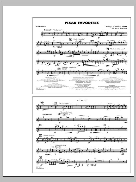Pixar Favorites - Bb Clarinet Sheet Music