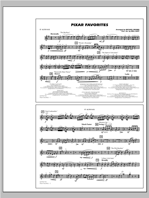 Pixar Favorites - Eb Alto Sax Sheet Music