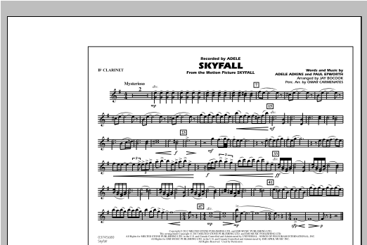 Skyfall - Bb Clarinet Sheet Music