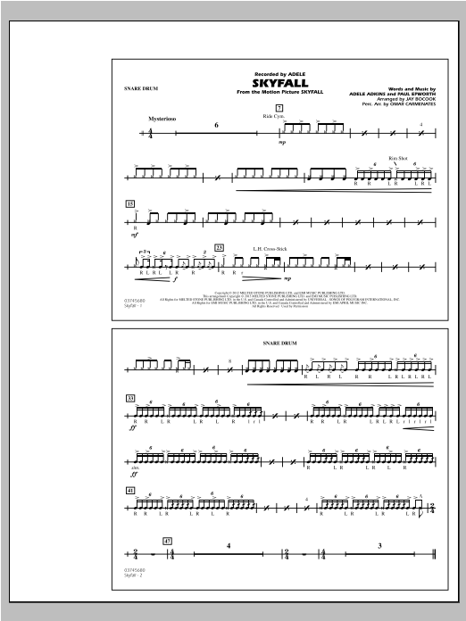 Skyfall - Snare Drum Sheet Music