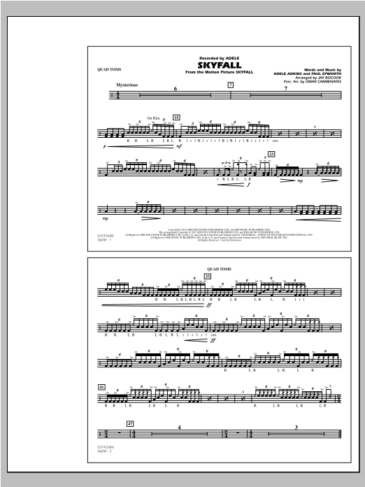 Skyfall - Quad Toms Sheet Music