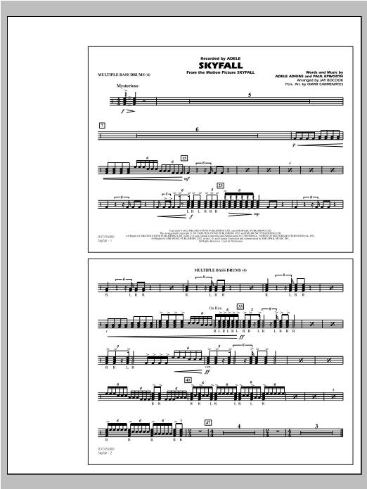 Skyfall - Multiple Bass Drums Sheet Music