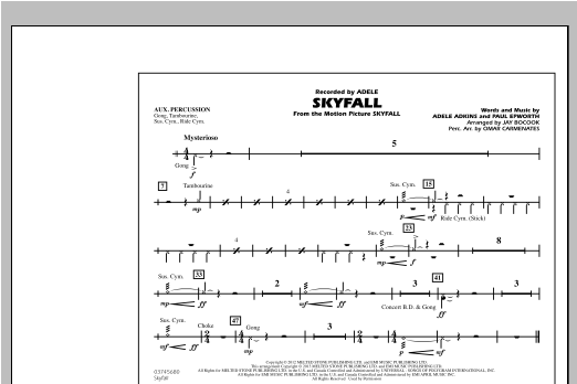 Skyfall - Aux Percussion Sheet Music