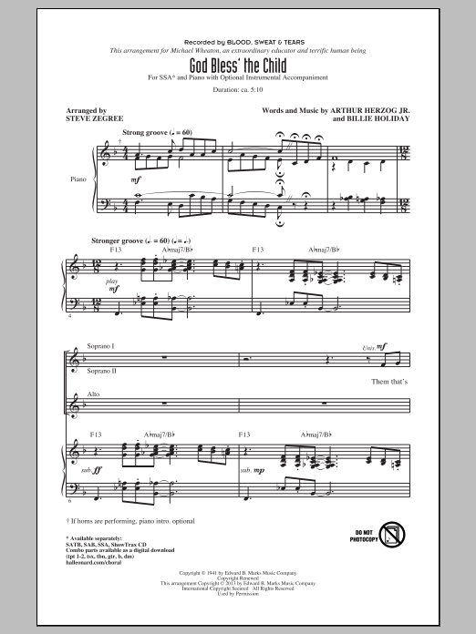 God Bless' The Child (arr. Steve Zegree) Partition Digitale