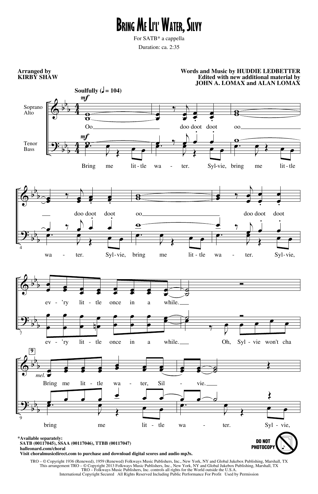 Bring Me Lil'l Water, Sylvie Sheet Music