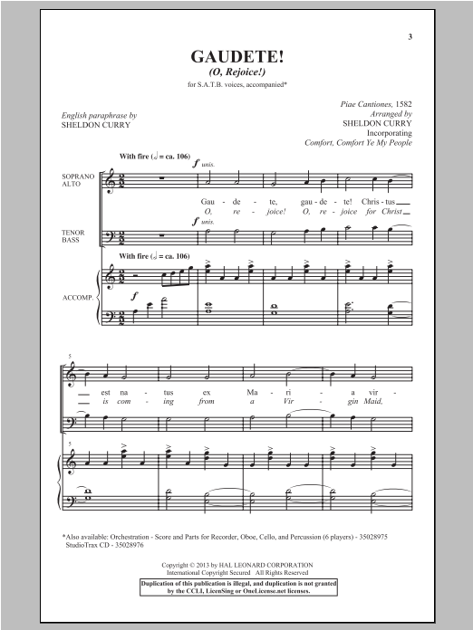 Partition chorale Gaudete! (O, Rejoice!) de Sheldon Curry - SATB
