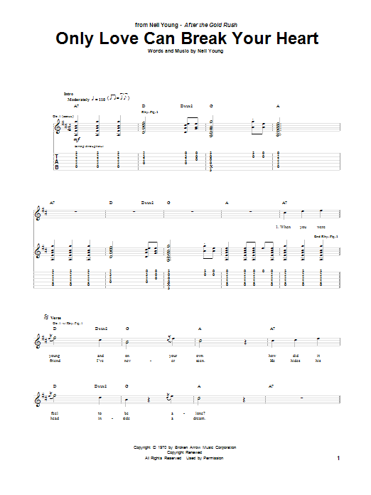 Only Love Can Break Your Heart (Guitar Tab)