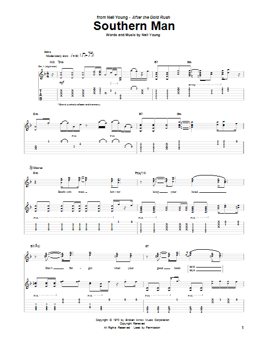 Southern Man Sheet Music