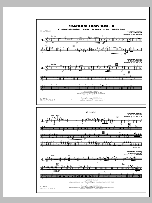 Stadium Jams Volume 8 (Michael Jackson) - Eb Alto Sax Sheet Music