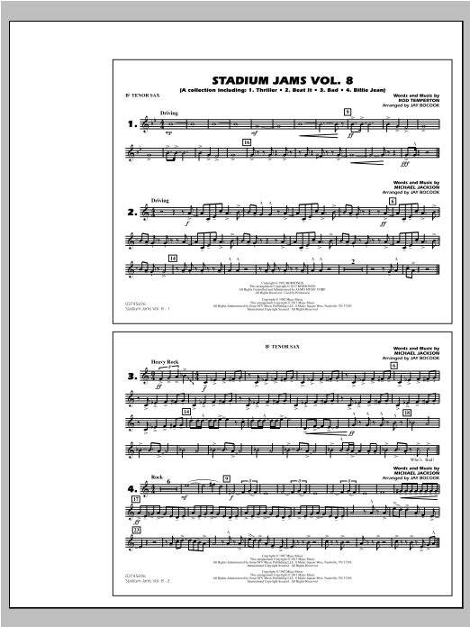 Stadium Jams Volume 8 (Michael Jackson) - Bb Tenor Sax Sheet Music