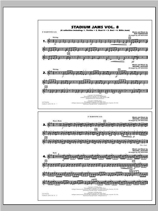 Stadium Jams Volume 8 (Michael Jackson) - Eb Baritone Sax Sheet Music