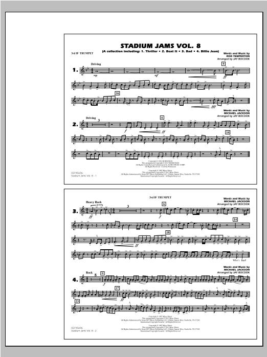 Stadium Jams Volume 8 (Michael Jackson) - 3rd Bb Trumpet Sheet Music
