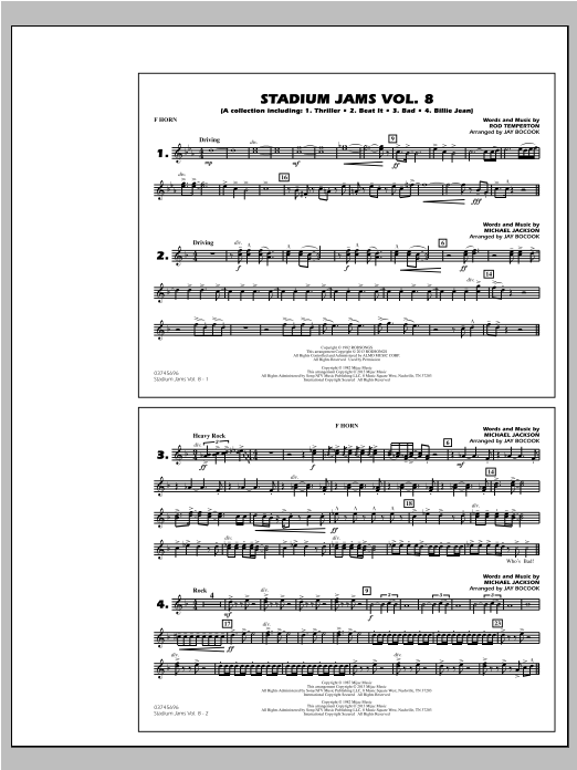 Stadium Jams Volume 8 (Michael Jackson) - F Horn Sheet Music