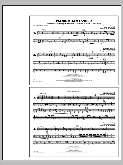 Stadium Jams Volume 8 (Michael Jackson) - Bb Horn/Flugelhorn Sheet Music