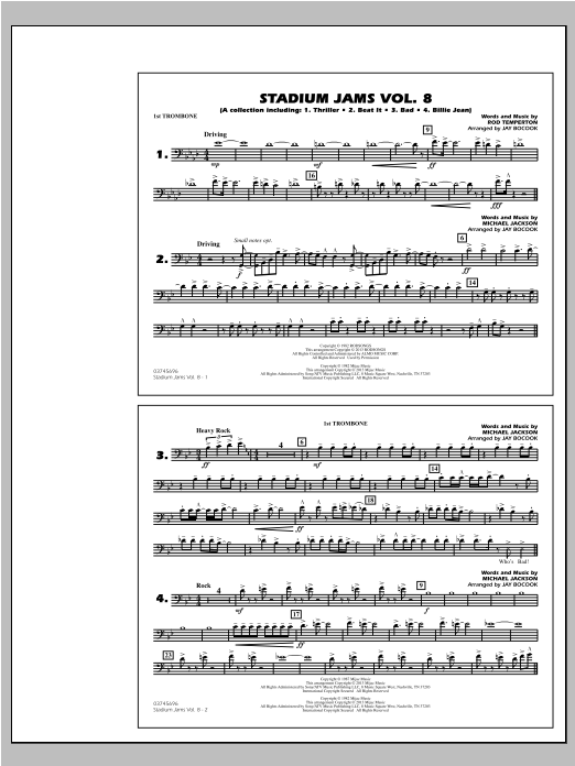 Stadium Jams Volume 8 (Michael Jackson) - 1st Trombone Sheet Music
