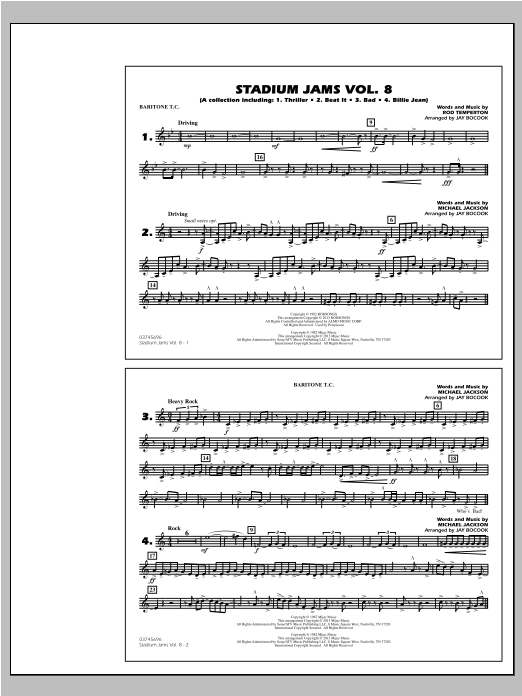 Stadium Jams Volume 8 (Michael Jackson) - Baritone T.C. Sheet Music