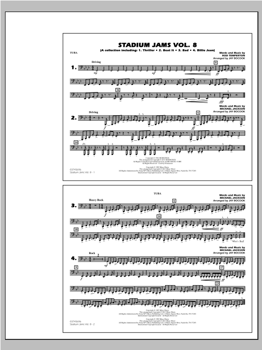 Stadium Jams Volume 8 (Michael Jackson) - Tuba by Jay Bocook Marching Band  Digital Sheet Music