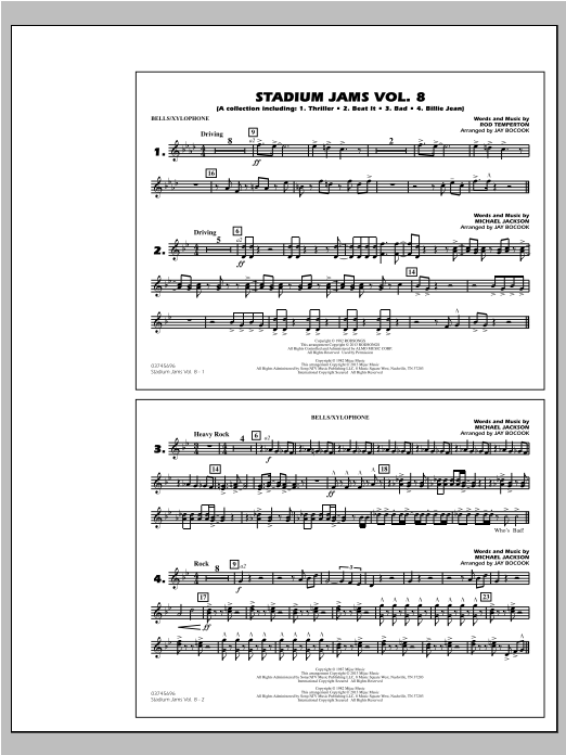 Stadium Jams Volume 8 (Michael Jackson) - Bells/Xylophone Sheet Music
