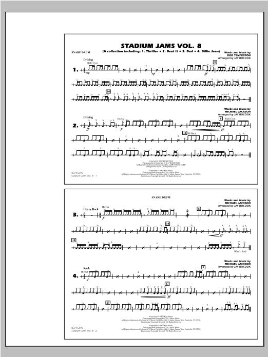Stadium Jams Volume 8 (Michael Jackson) - Snare Drum Sheet Music