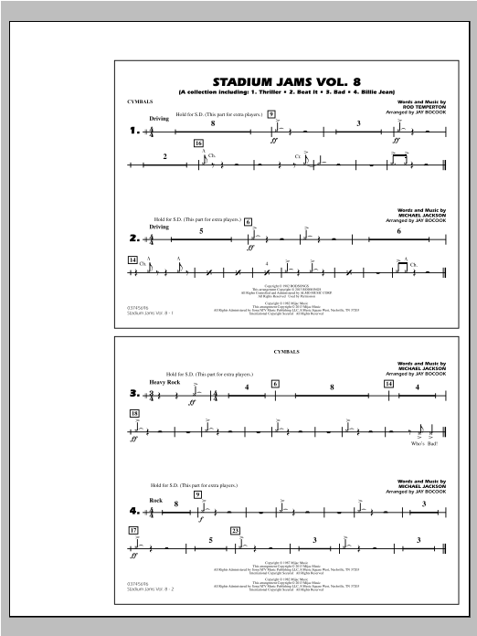 Stadium Jams Volume 8 (Michael Jackson) - Cymbals Sheet Music