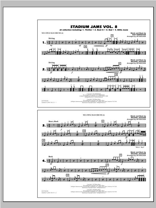 Stadium Jams Volume 8 (Michael Jackson) - Multiple Bass Drums Sheet Music