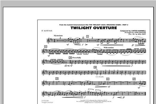 Twilight Overture - Eb Alto Sax Sheet Music