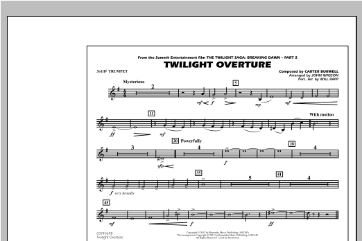 Twilight Overture - 3rd Bb Trumpet Sheet Music