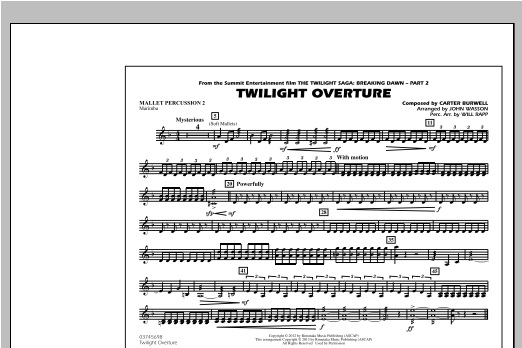 Twilight Overture - Mallet Percussion 2 Sheet Music