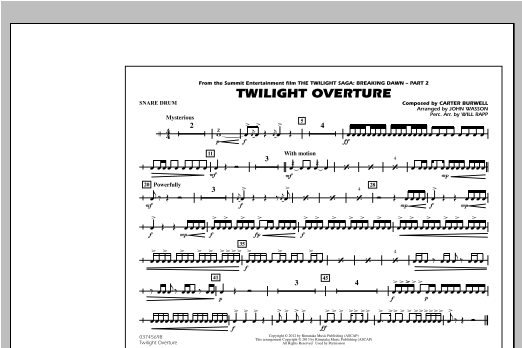 Twilight Overture - Snare Drum Sheet Music