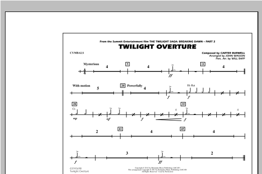 Twilight Overture - Cymbals Sheet Music