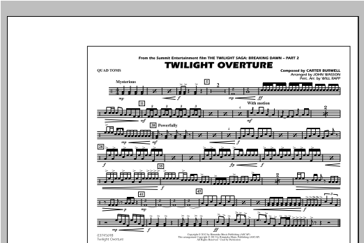 Twilight Overture - Quad Toms Sheet Music