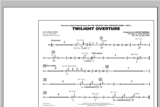 Twilight Overture - Aux Percussion Sheet Music