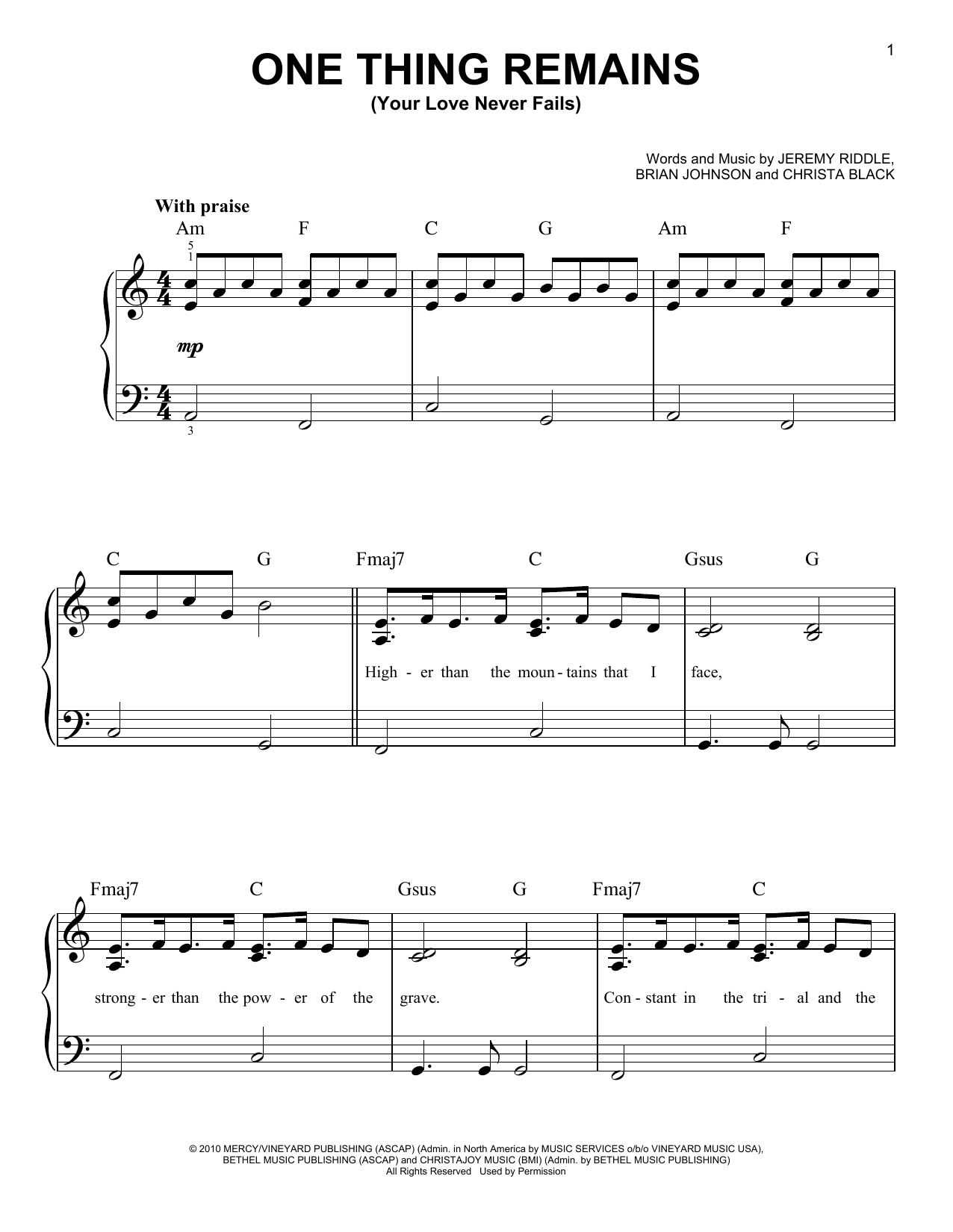 One Thing Remains (Your Love Never Fails) Sheet Music