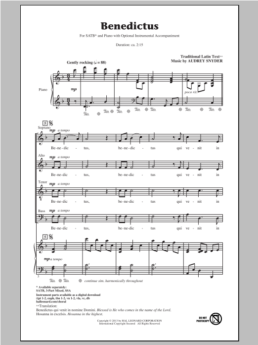 Benedictus Sheet Music